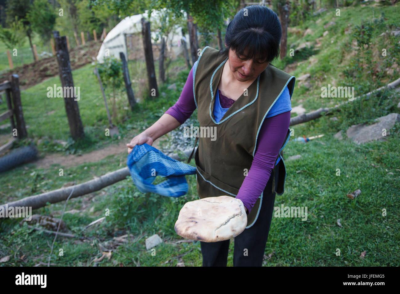 Chile, Araucania, Alto bio bio, Mapuche, woman, ash of the home-baked bread knock off, - Stock Image