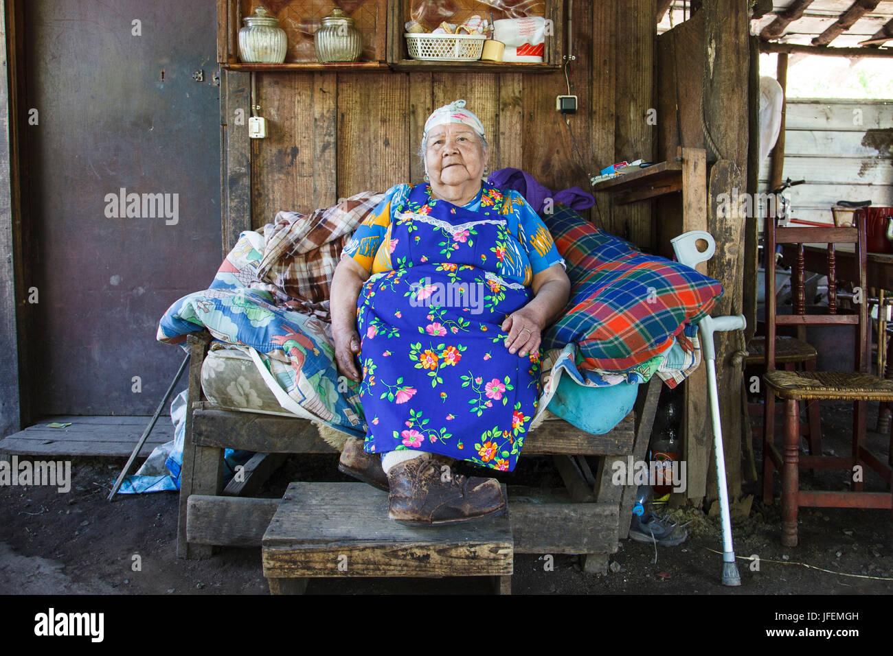 Chile, Araucania, Alto bio bio, Mapuche, woman, shaman, herbal woman, - Stock Image