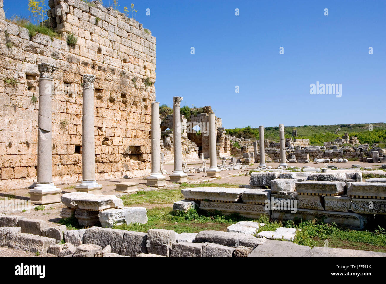 Perge, antique town, best preserved town of the antique Pamphylien, entrance to the thermal spas - Stock Image