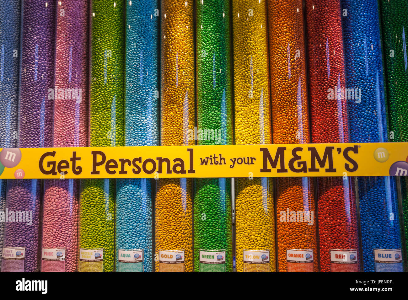 England, London, Leicester Square, M&M's Store - Stock Image