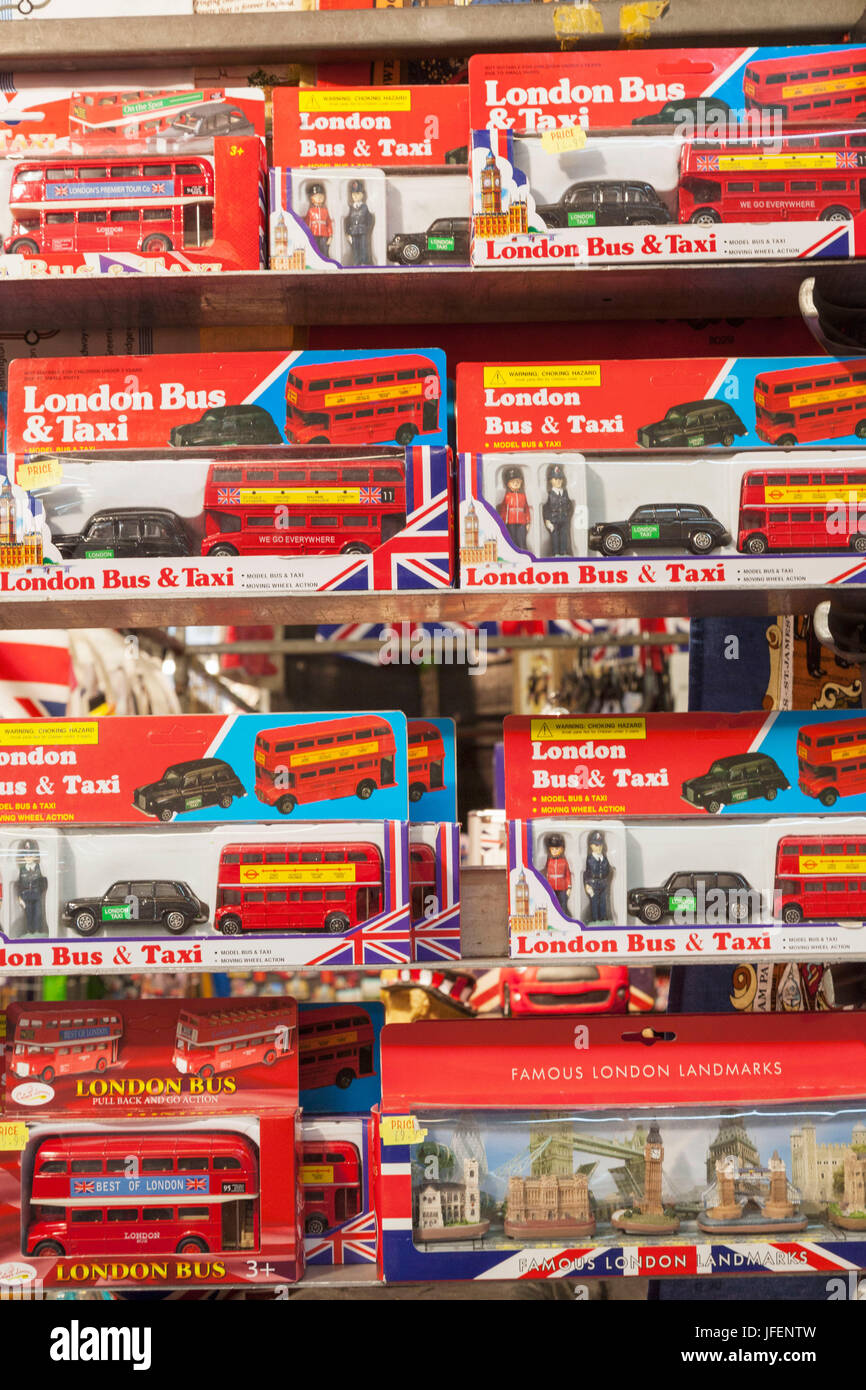 England, London, Covent Garden Market, Stall Display of London Bus and Taxi Models - Stock Image