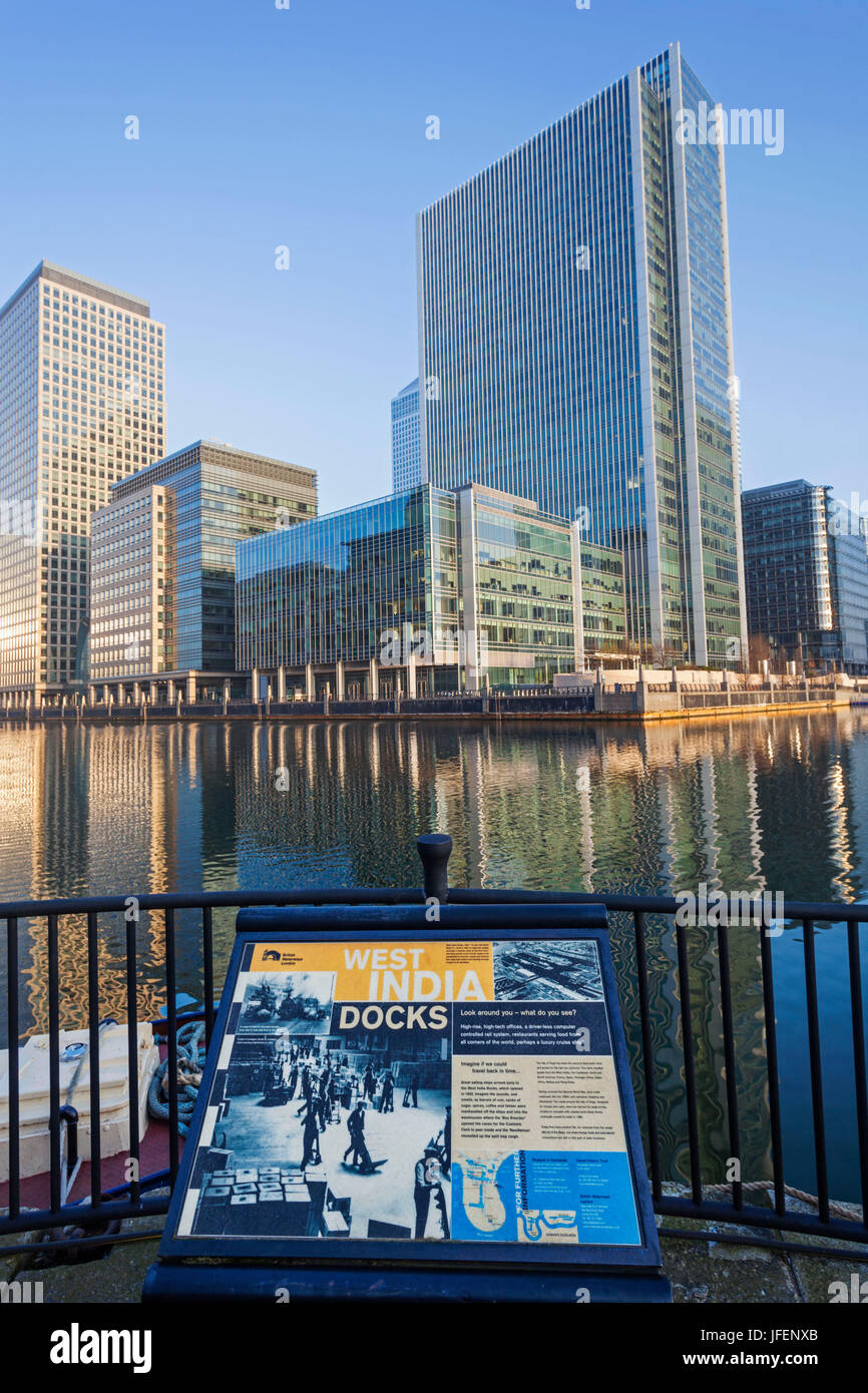 England, London, Docklands, Canary Wharf - Stock Image