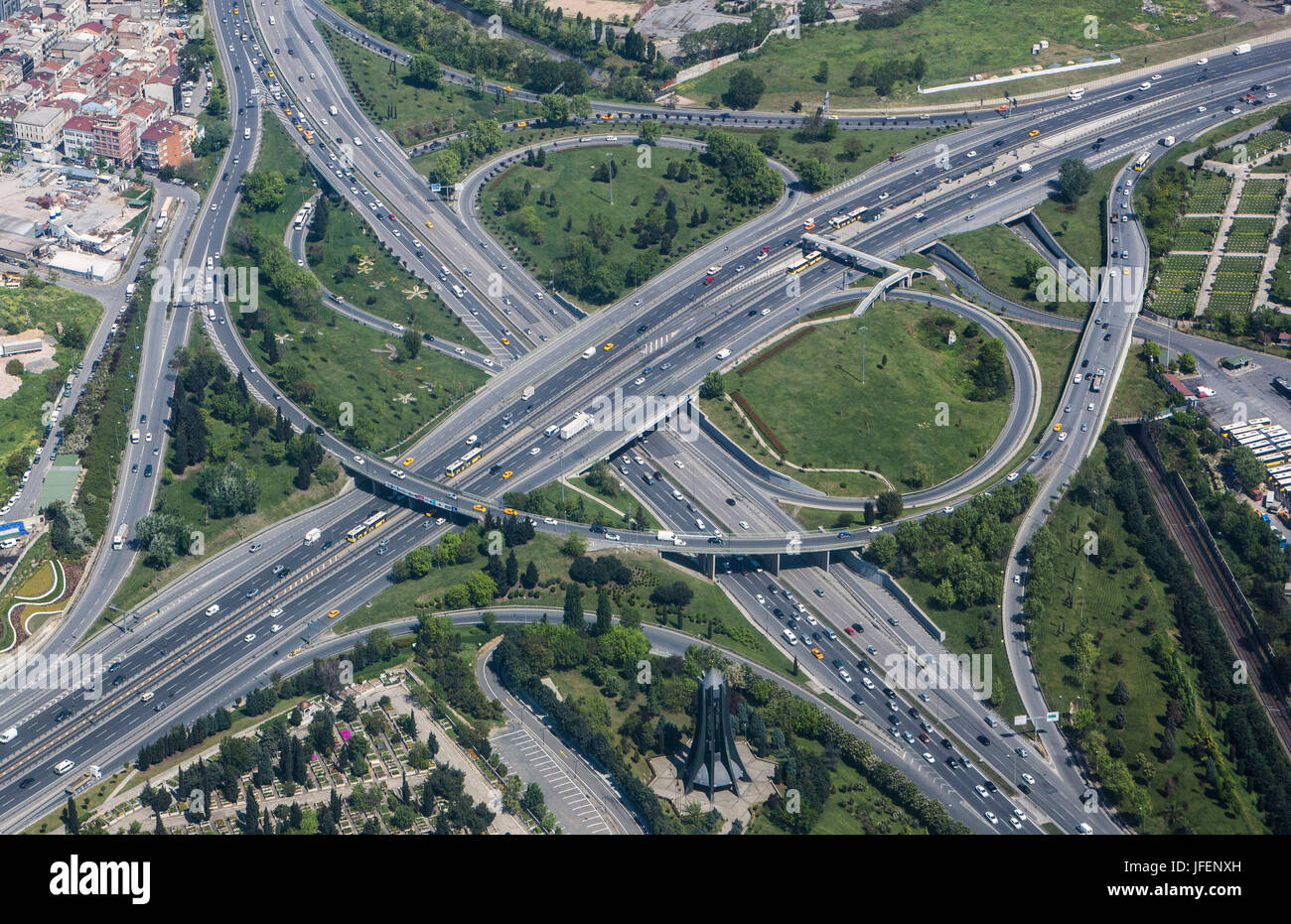 Turkey, Istambul City, Topcular District, Expressways crossing - Stock Image
