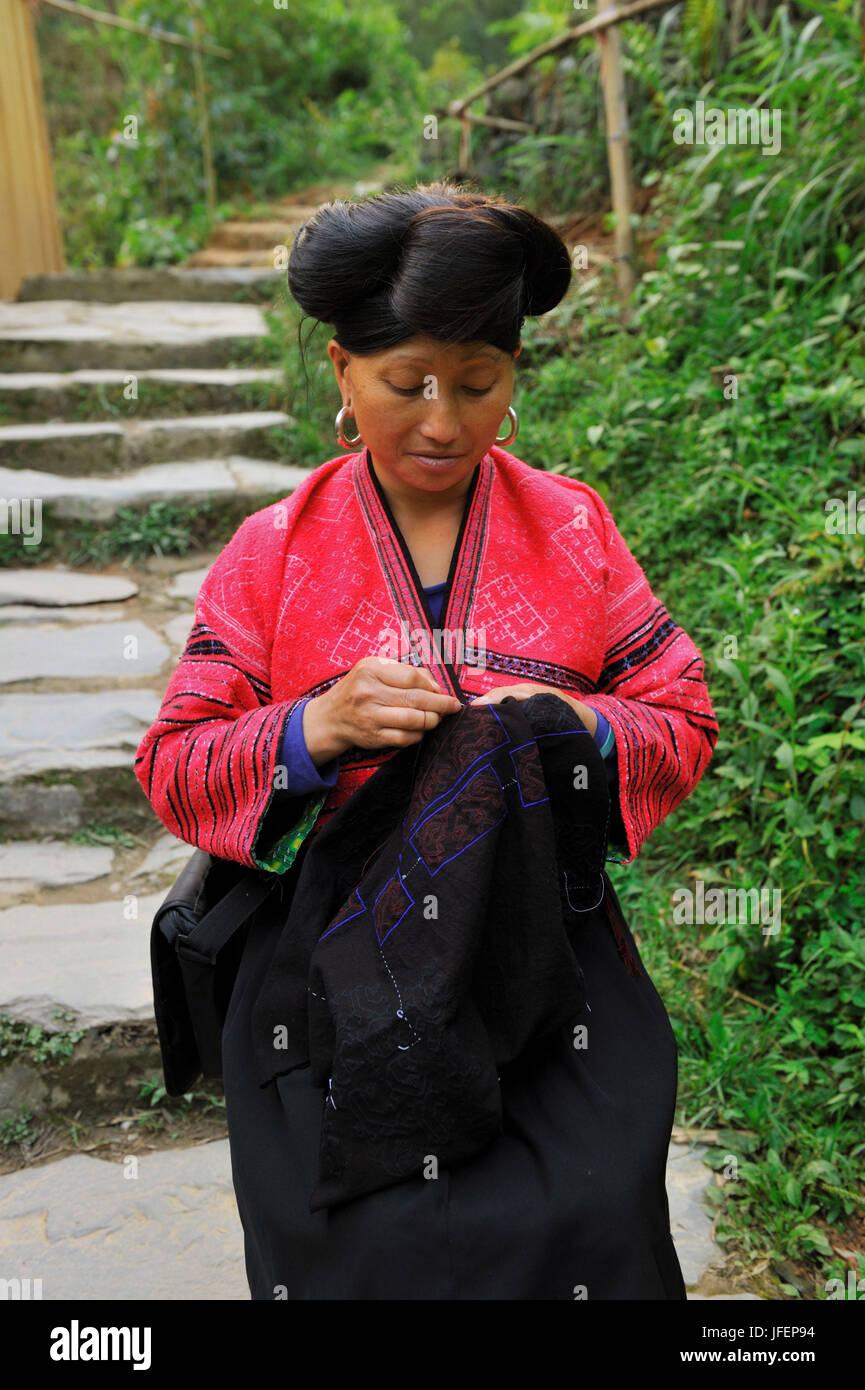 China, Guangxi Province, Longsheng aera, Ping An village, Red Yao minority Stock Photo