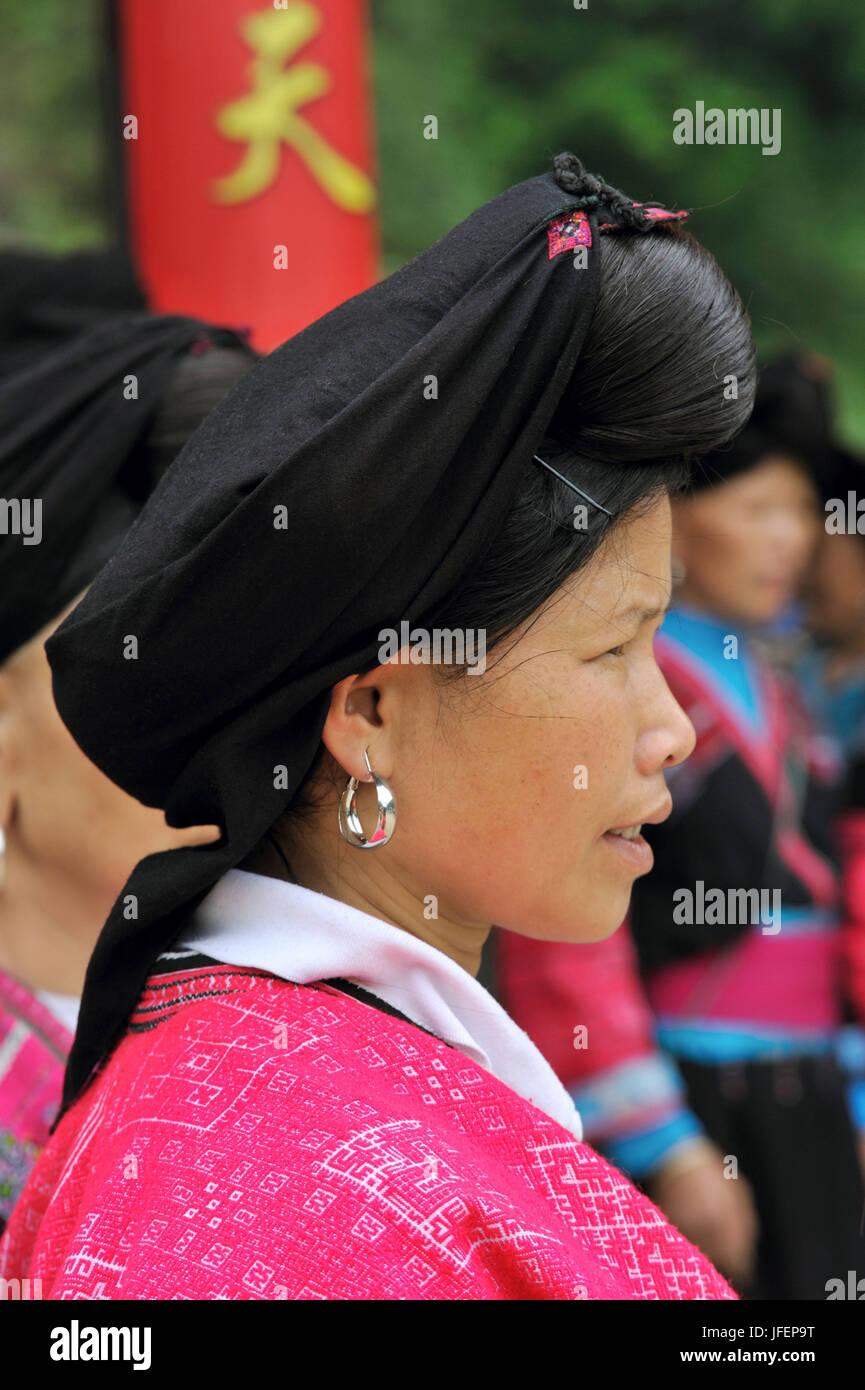 China, Guangxi Province, Longsheng aera, Dazhai village, Red Yao minority Stock Photo