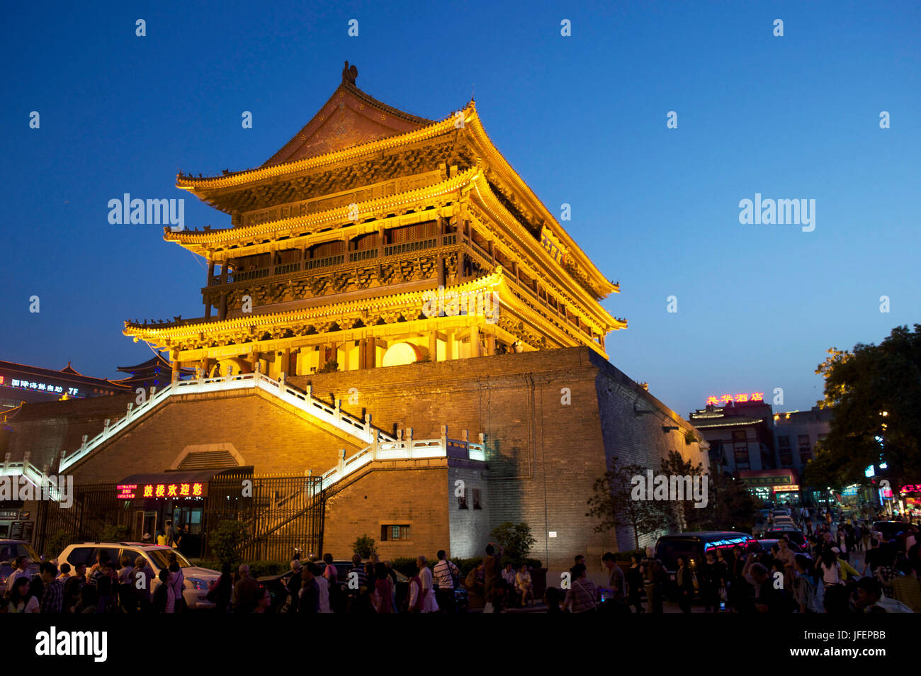China, Shaanxi province, Xi' An, Drum tower - Stock Image