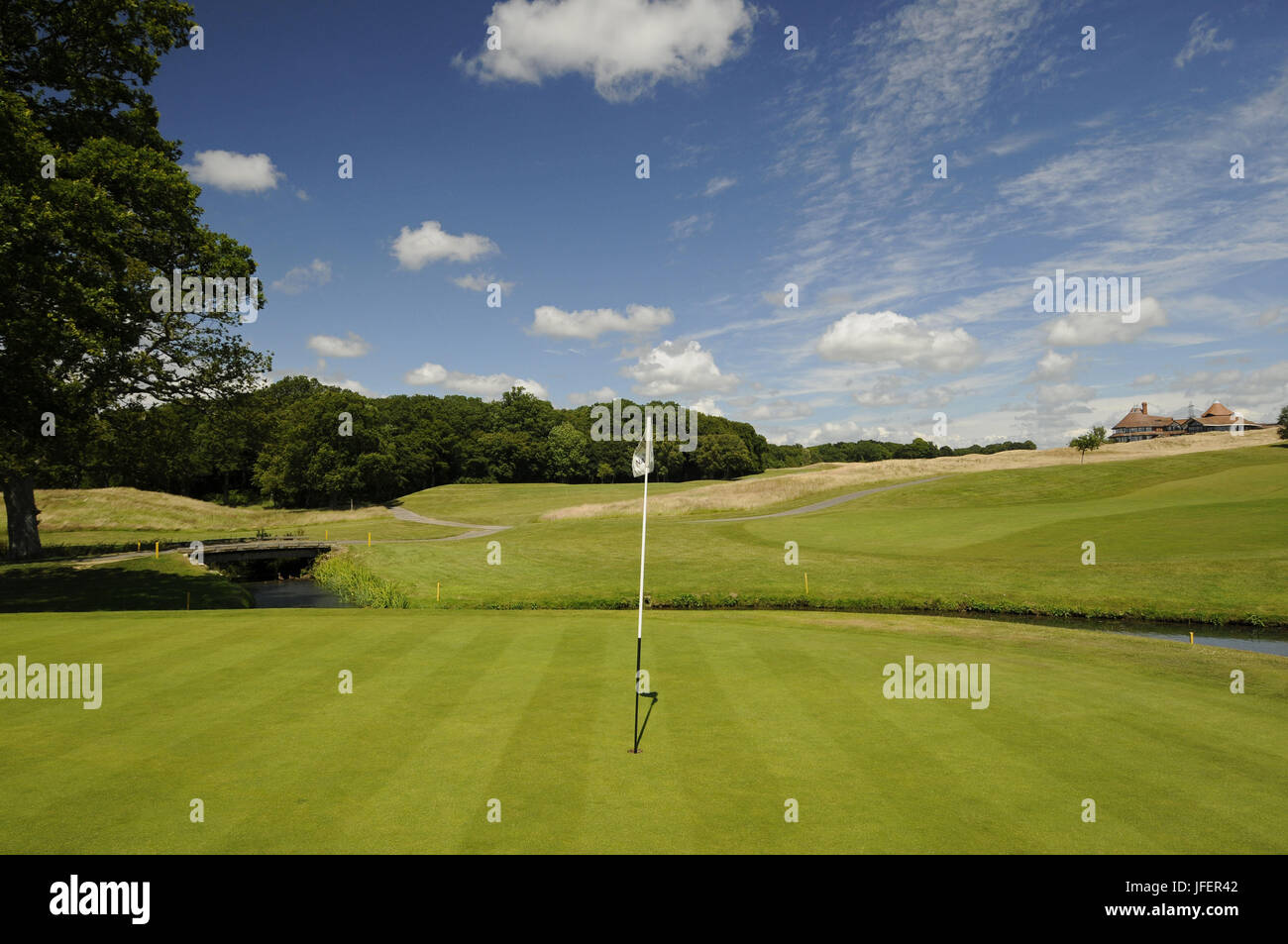 View of 10th Green on the East Course with The Clubhouse in background, East Sussex National East Sussex England - Stock Image