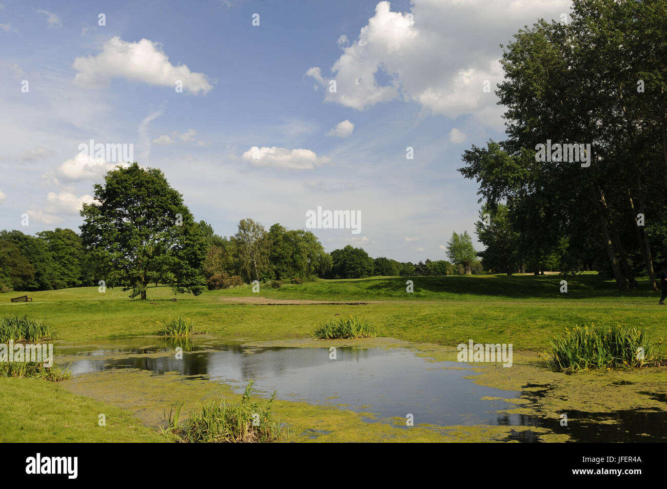View of the Wetlands area from 9th Tee of JH Taylor Course Royal Mid-Surrey Golf Club Richmond Surrey England - Stock Image
