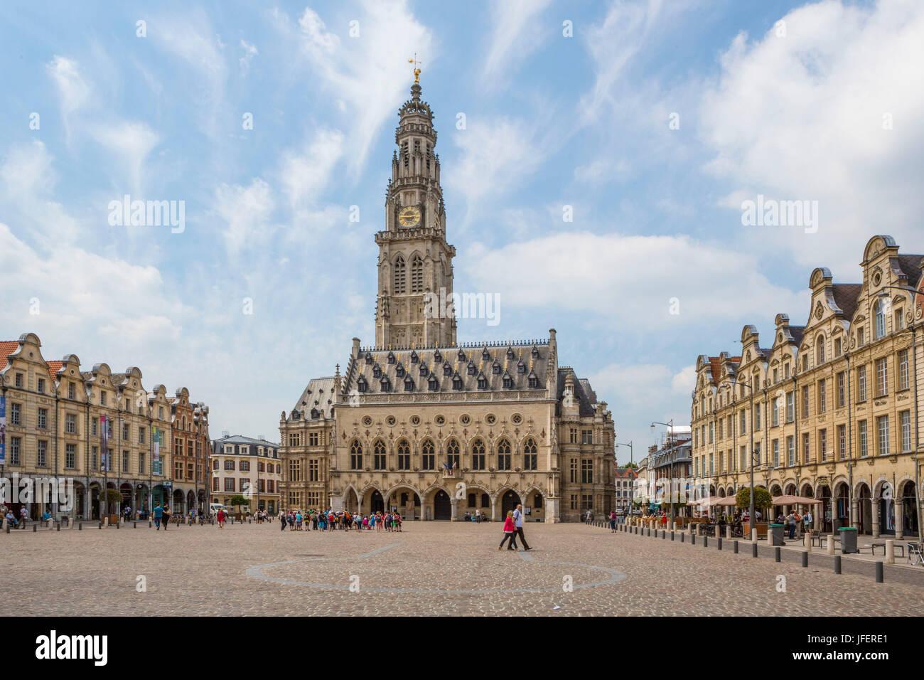 France, Arras City, Arras City Hall Square - Stock Image
