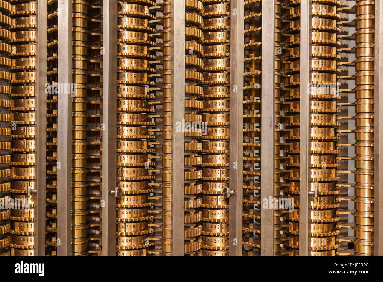 England, London, Kensington, The Science Museum, Detail of Charles Babbage's Difference Engine No.2 - Stock Image