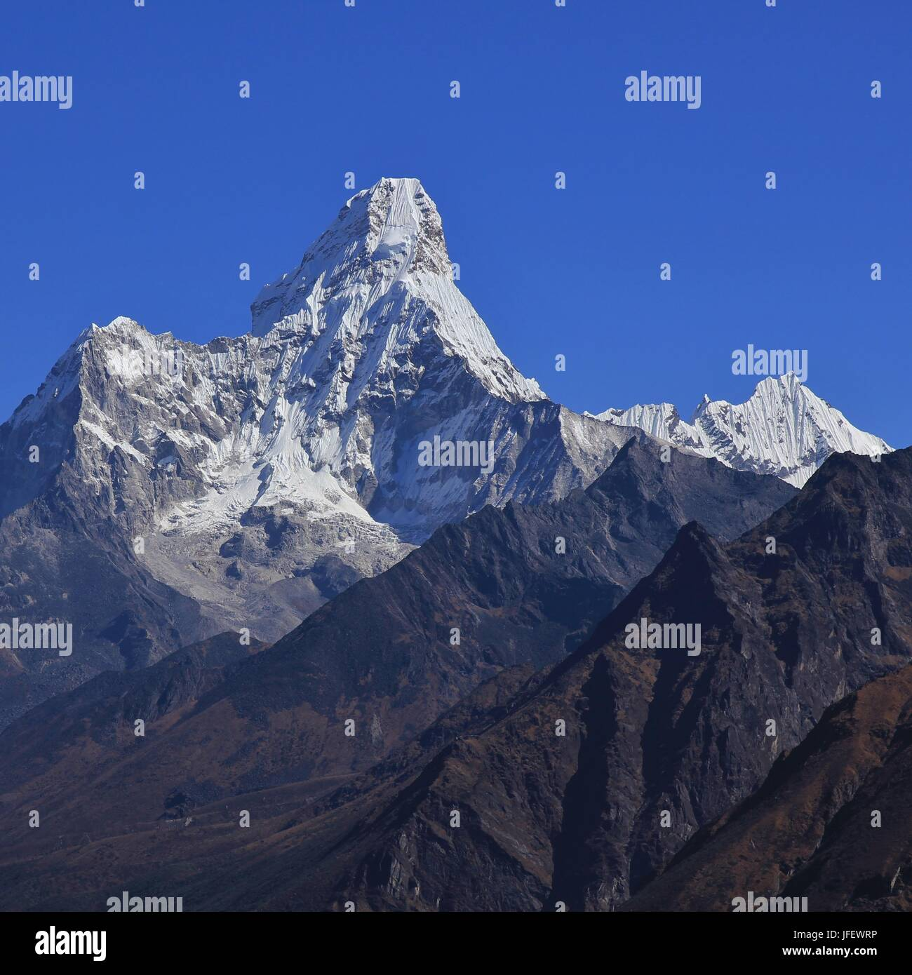 Mount Ama Dablam seen from Khumjung - Stock Image