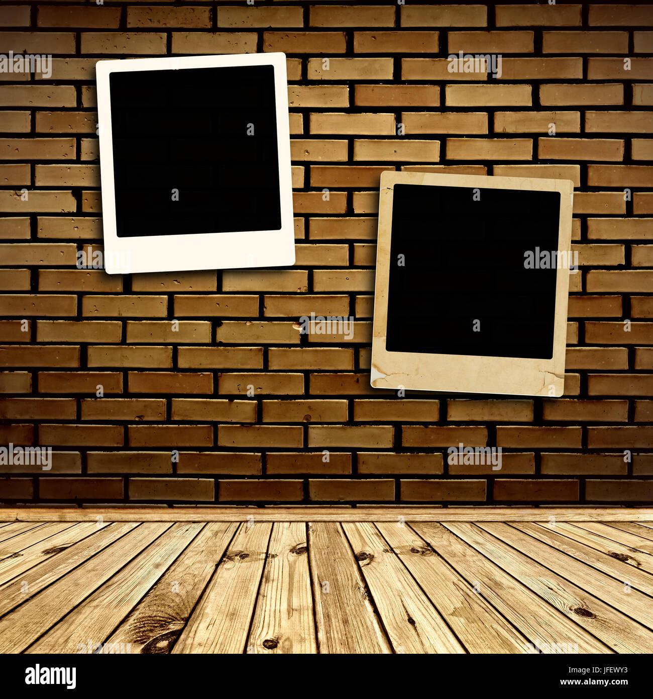 Photo Frames at Wall - Stock Image