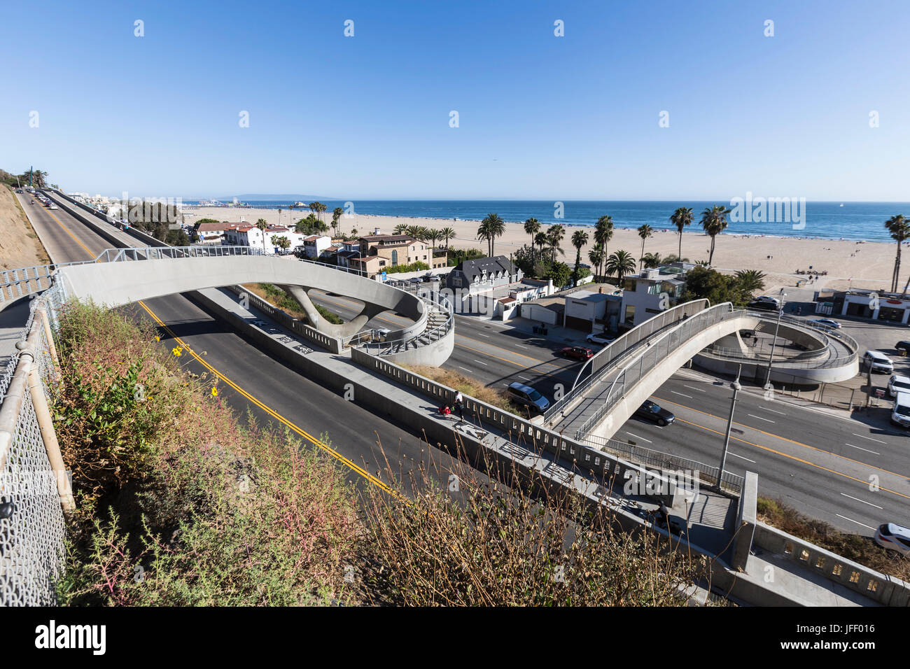 Santa Monica, California, USA - June 26, 2017:  Newly completed bicycle and pedestrian bridges over Pacific Coast - Stock Image