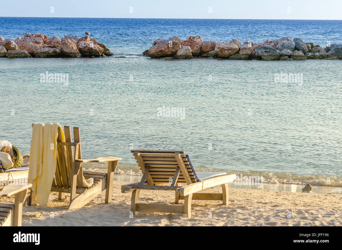 Front row seats by the sea in Curacao - Stock Image