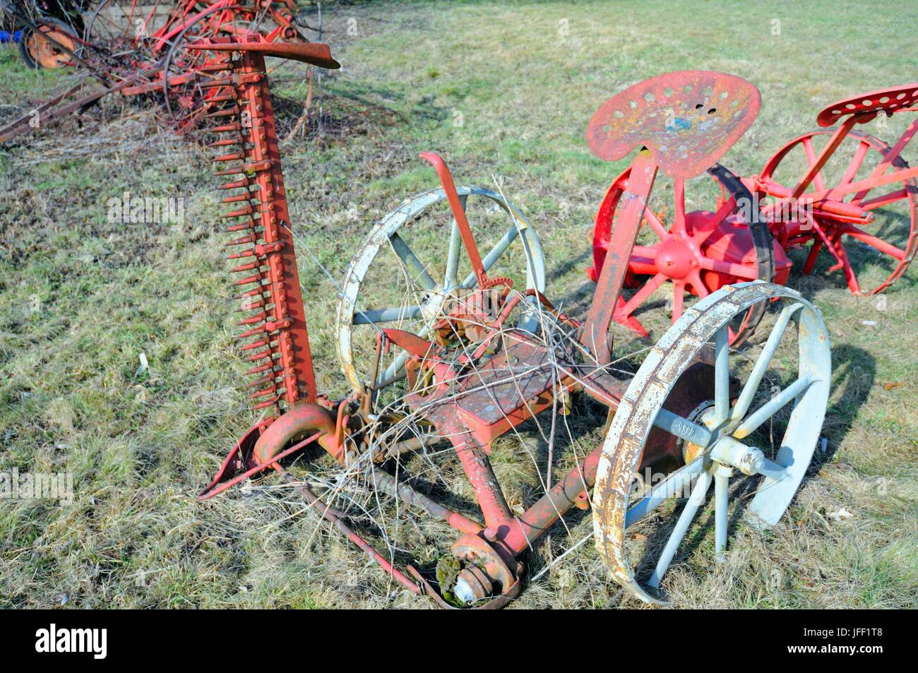 Mowers from yesteryear - Stock Image
