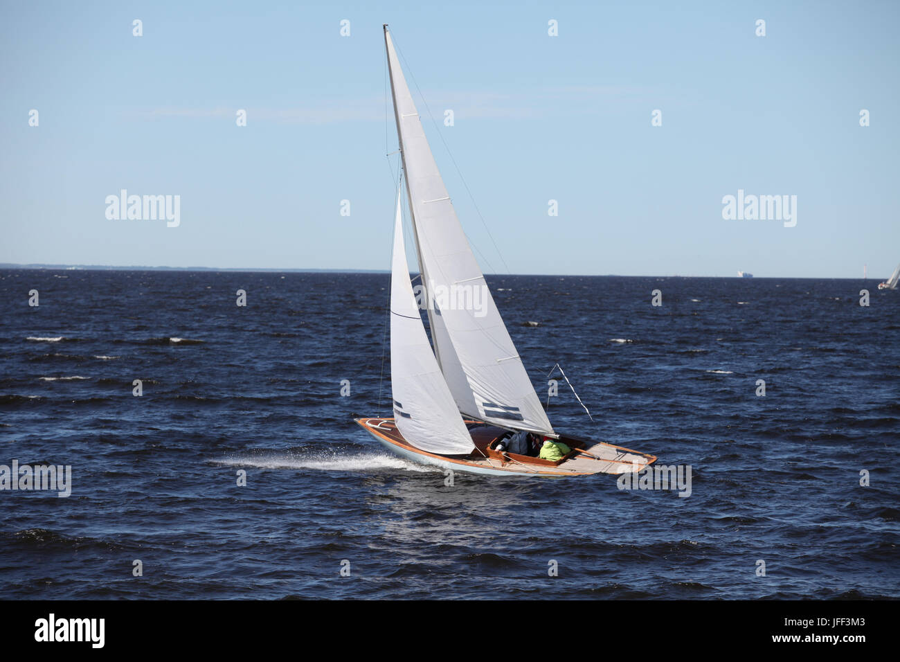 sailboat in sea in motion - Stock Image