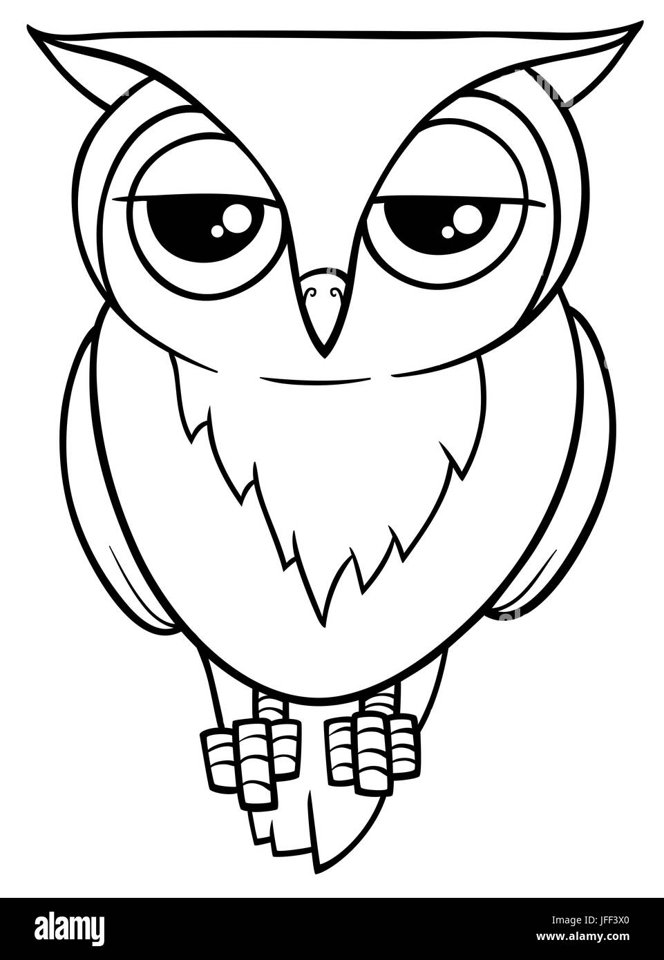 funny owl coloring page Stock Photo: 147235144 - Alamy