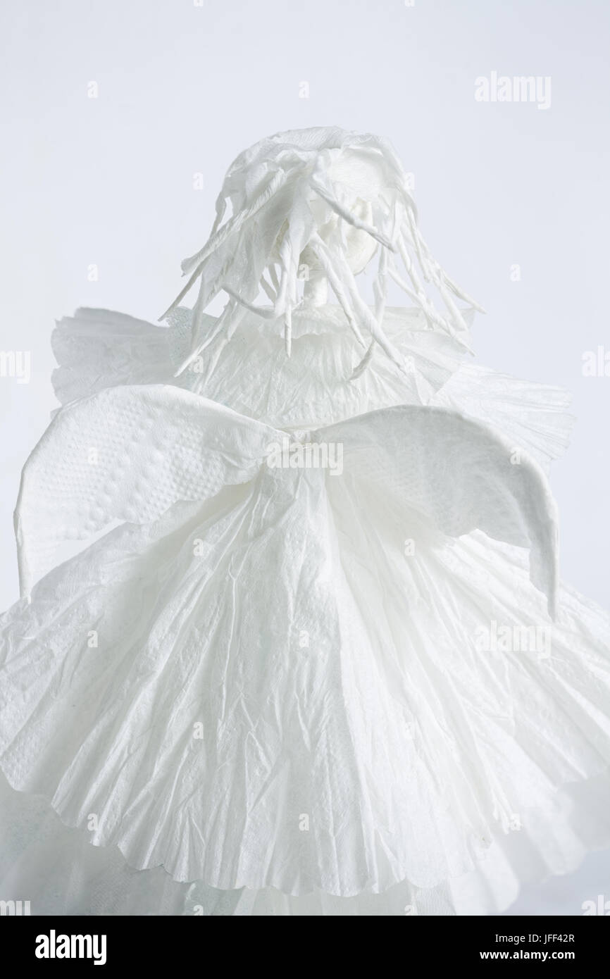 White Winged Angel is gone without turning Stock Photo