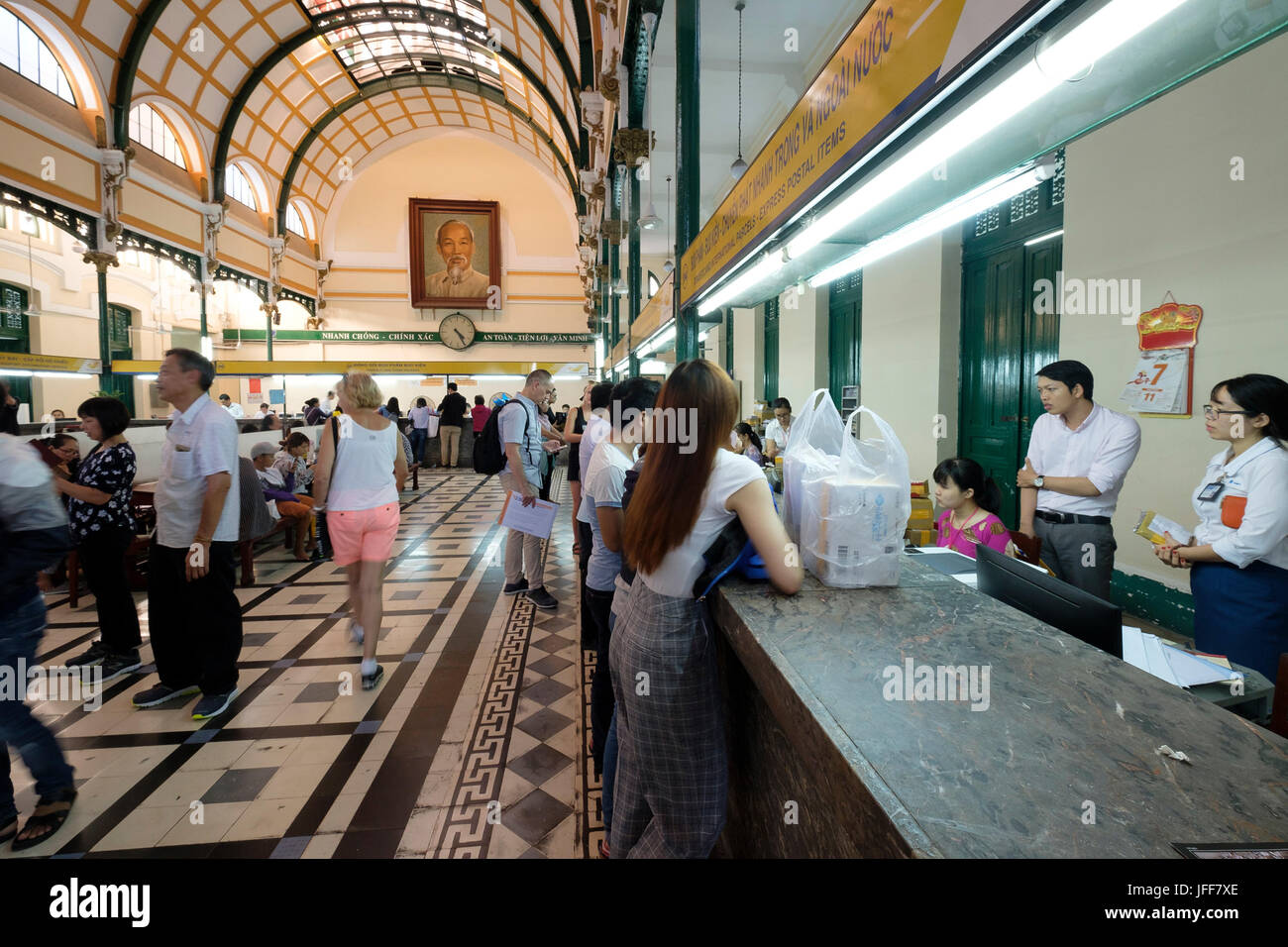 Saigon Central Post Office, Ho Chi Minh City, Vietnam, Asia - Stock Image