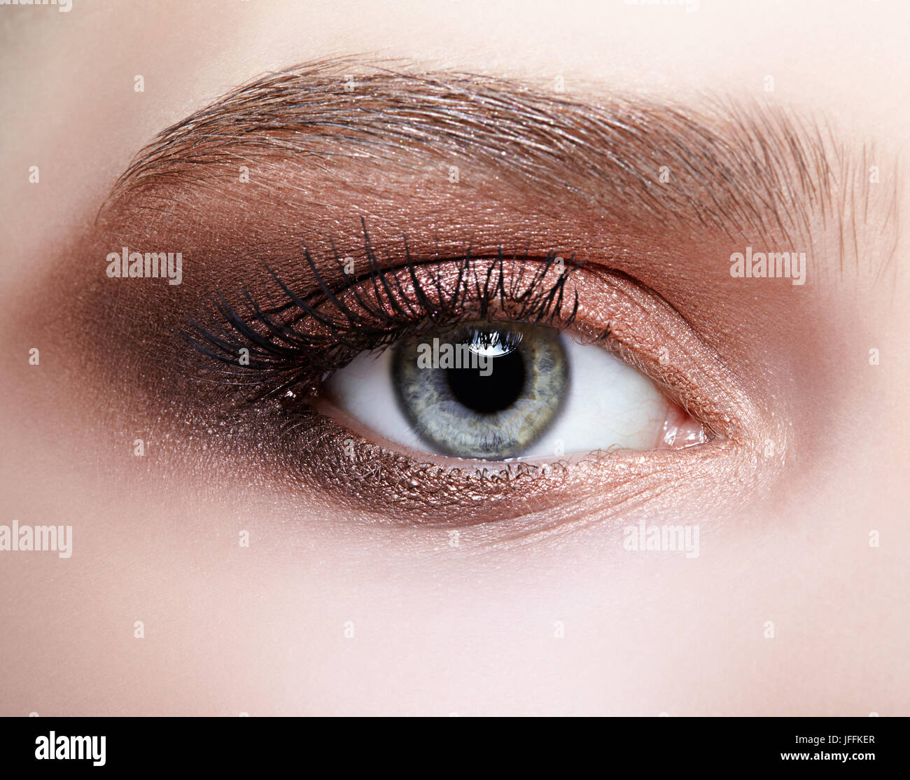 Female eye zone and brows with day makeup - Stock Image