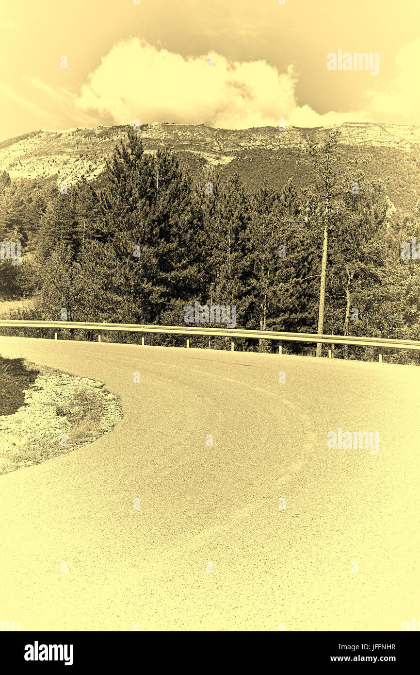 Winding Asphalt Road Stock Photo