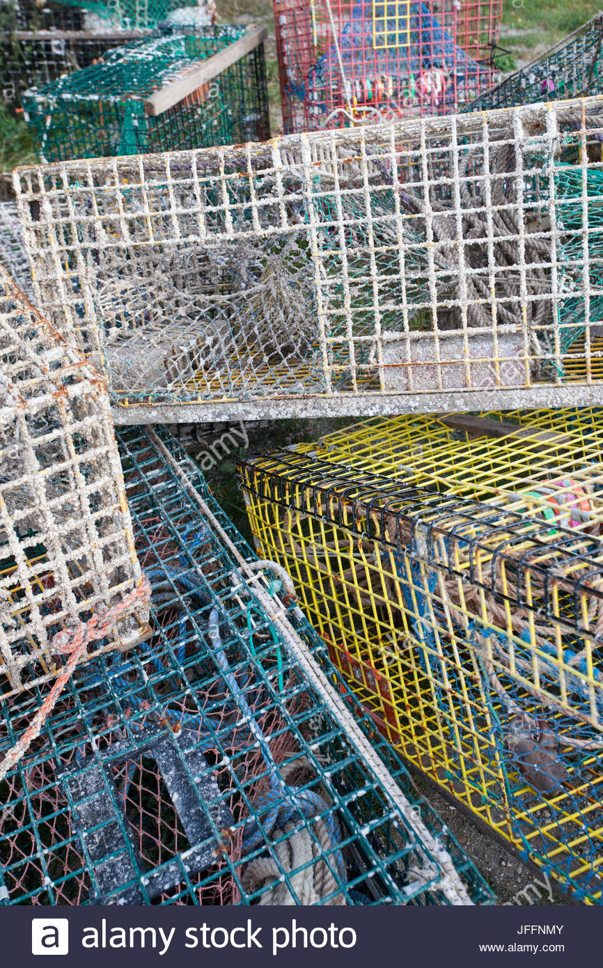 Crab pots piled up at Northeast Harbor. - Stock Image