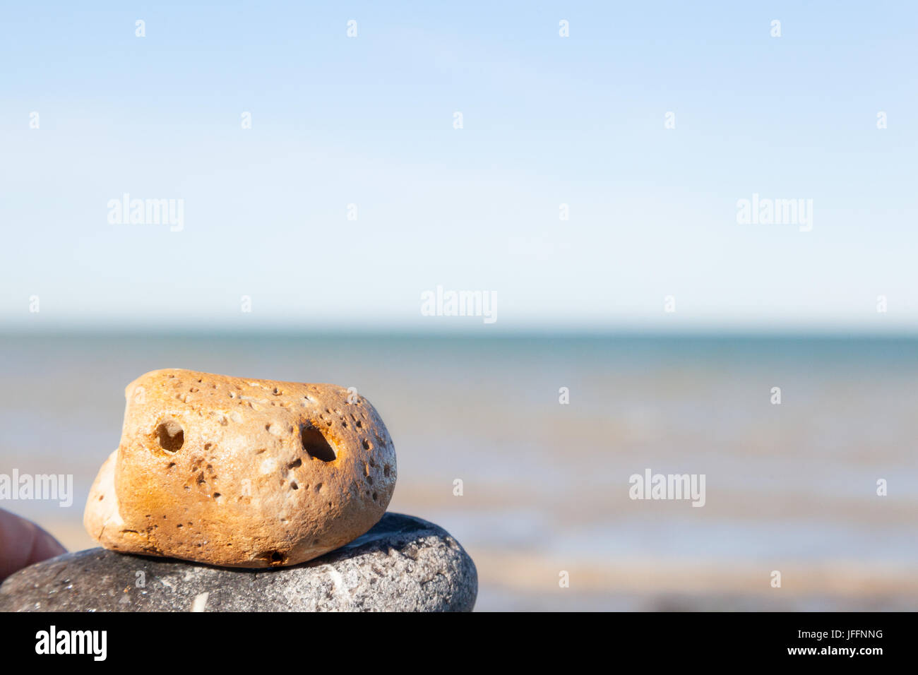 A cute 'pet rock' at the seaside - Stock Image