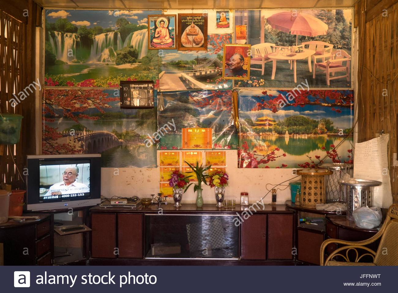 The dining room in a Deang minority home in Yunnan Province. - Stock Image