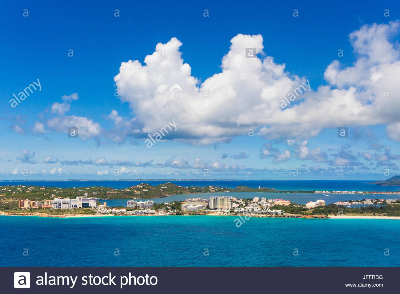 An aerial view of resorts along Maho Beach on Saint Martin Island. - Stock Image