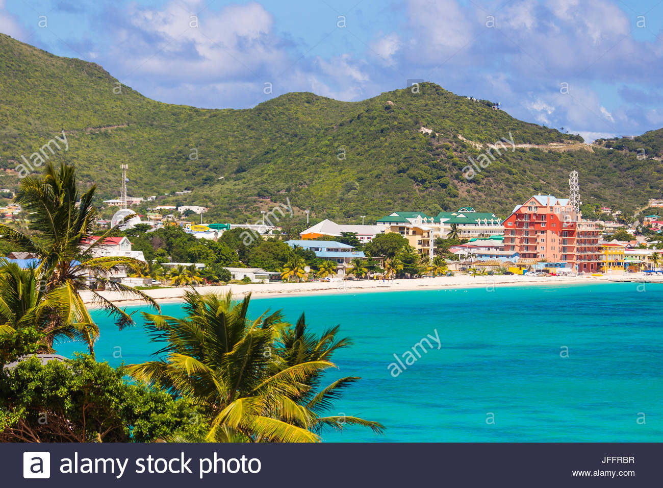 A scenic view of the beaches and city skyline of Philipsburg, the capital of Saint Martin Island. - Stock Image