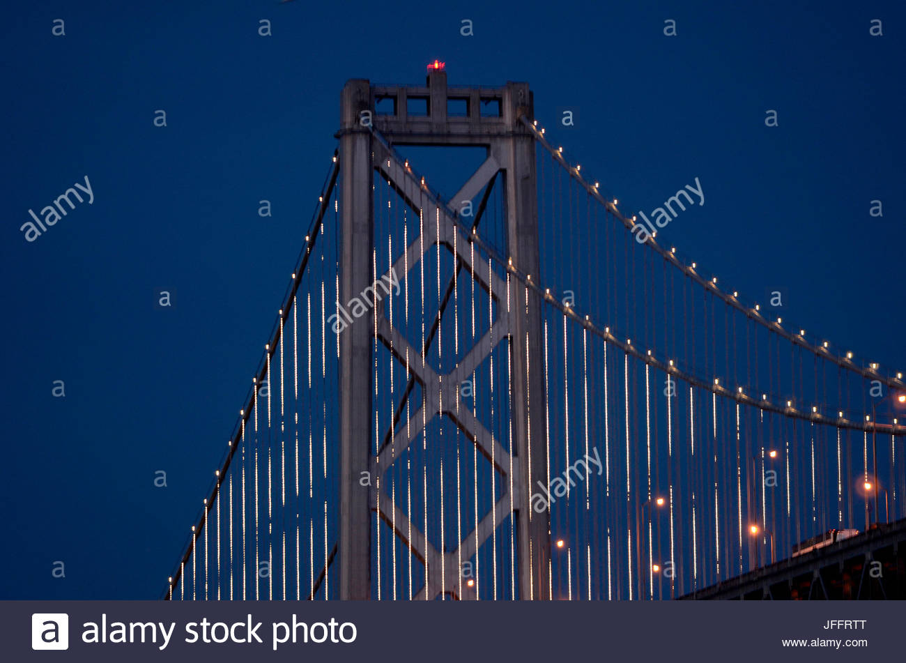 The Bay Lights is an iconic light sculpture designed by world-renowned artist Leo Villareal. This stunning fine - Stock Image