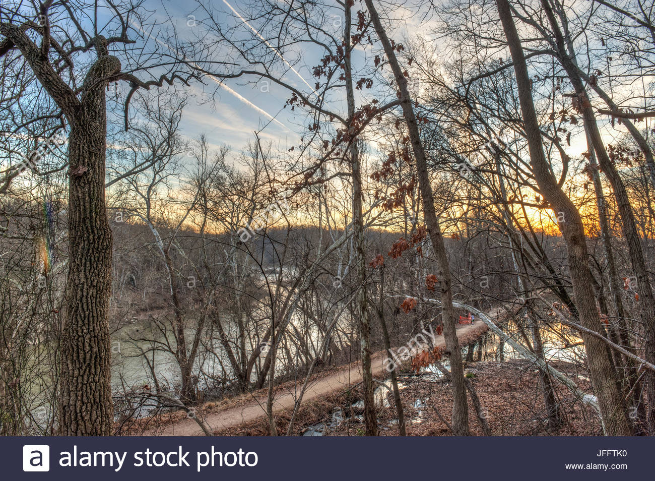 A scenic view along the Chesapeake and Ohio Canal towpath. - Stock Image