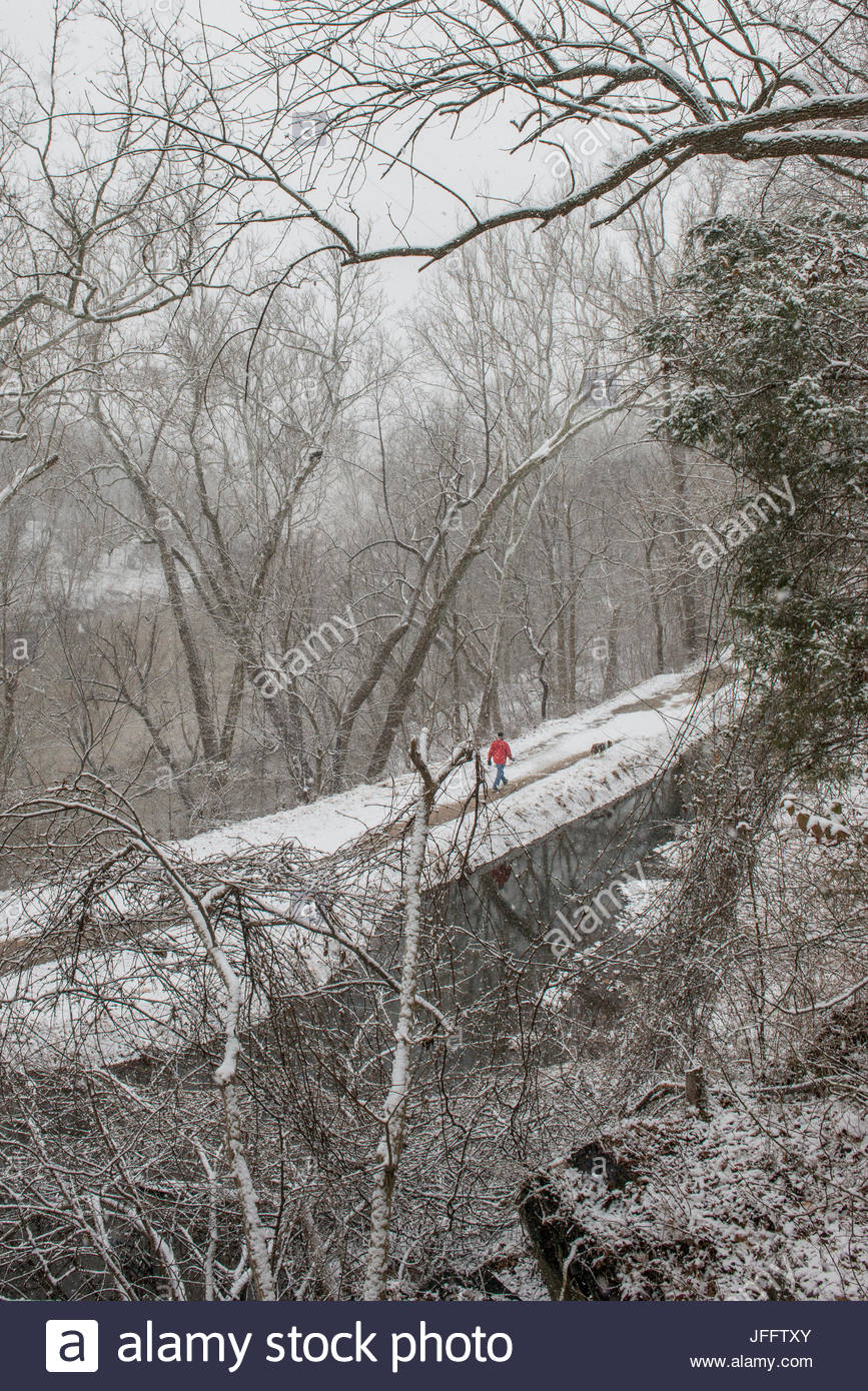 A man and his dog walking along the towpath of the Chesapeake and Ohio Canal on a snowy day. - Stock Image