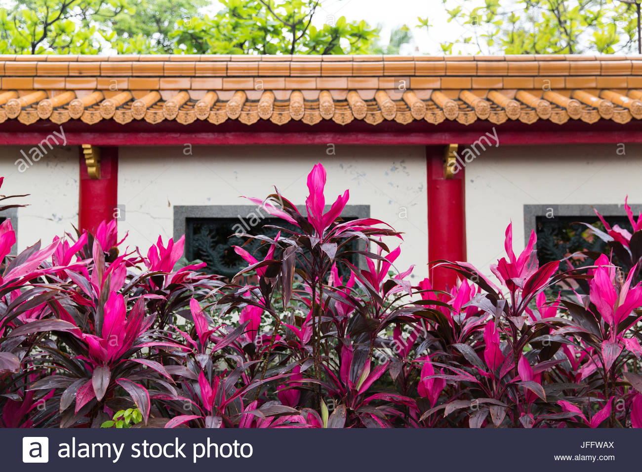 Colorful shrubbery inside the Dalongdong Baoan Temple. - Stock Image