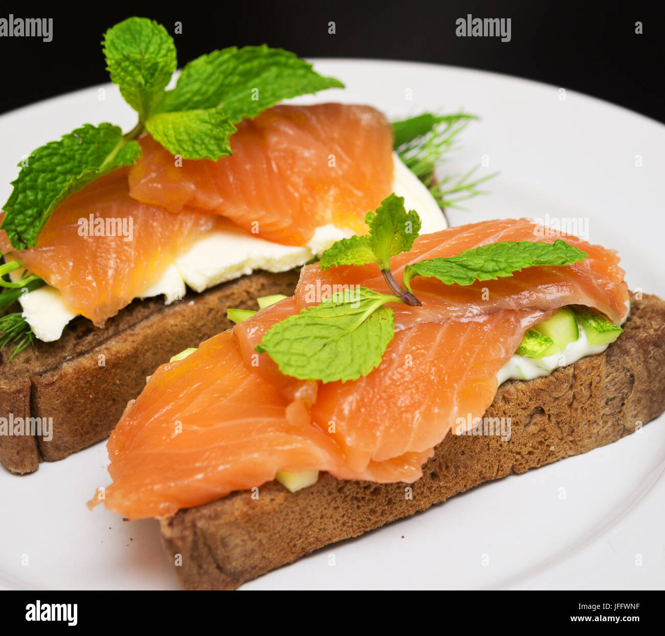 sandwiche with red fish - Stock Image