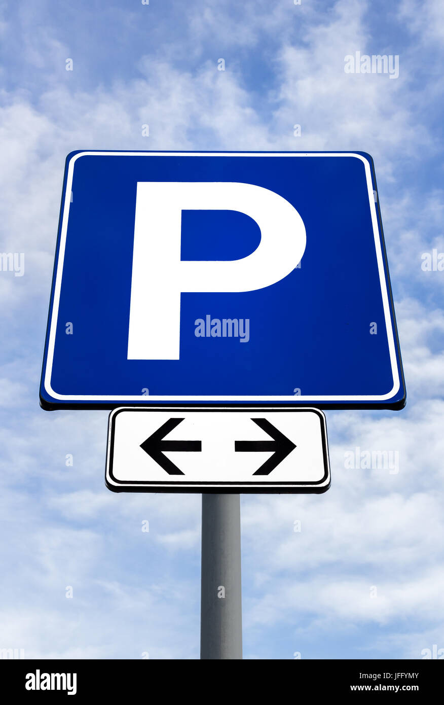 Streetsign for a parking lot - Stock Image