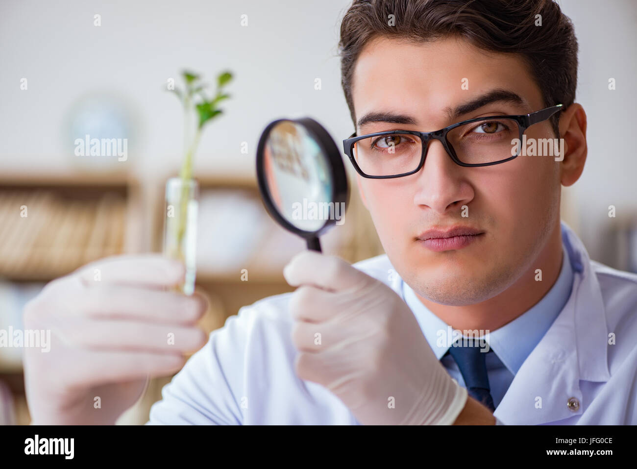 Biotechnology scientist working in the lab Stock Photo