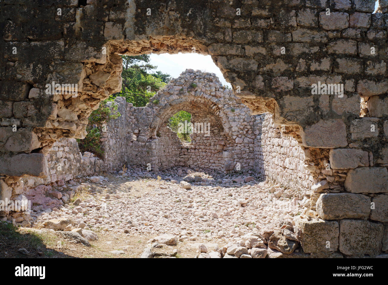ruin in Baska in Croatia - Stock Image