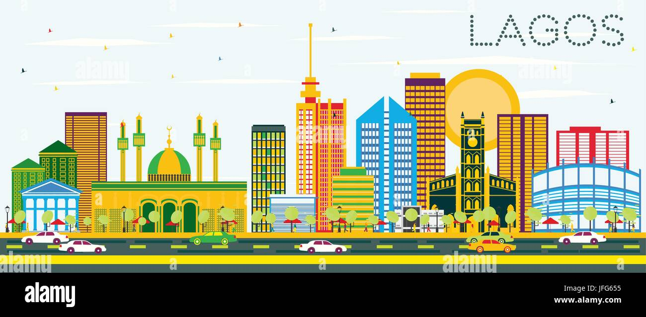 Lagos Skyline with Color Buildings and Blue Sky. Vector Illustration. Business Travel and Tourism Concept with Modern - Stock Image