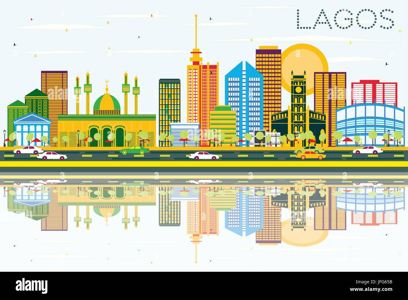 Lagos Skyline with Color Buildings, Blue Sky and Reflections. Vector Illustration. Business Travel and Tourism Concept - Stock Image
