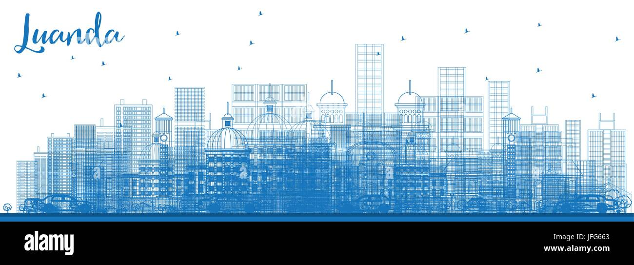 Outline Luanda Skyline with Blue Buildings. Vector Illustration. Business Travel and Tourism Concept with Modern - Stock Image