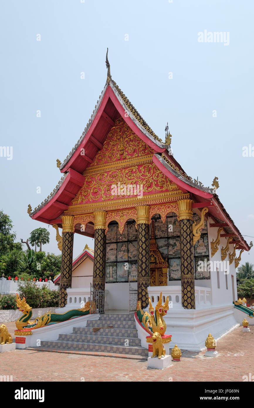 Buddhist temple in Ban Xang Hai (Whisky Village), Laos, Asia - Stock Image