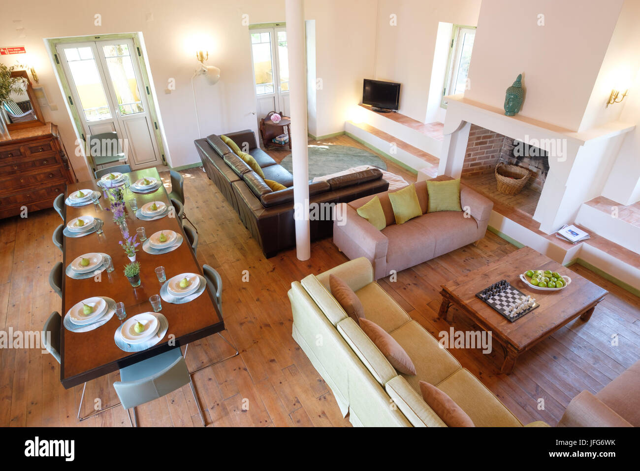 Overhead view of a living room and dining room - Stock Image