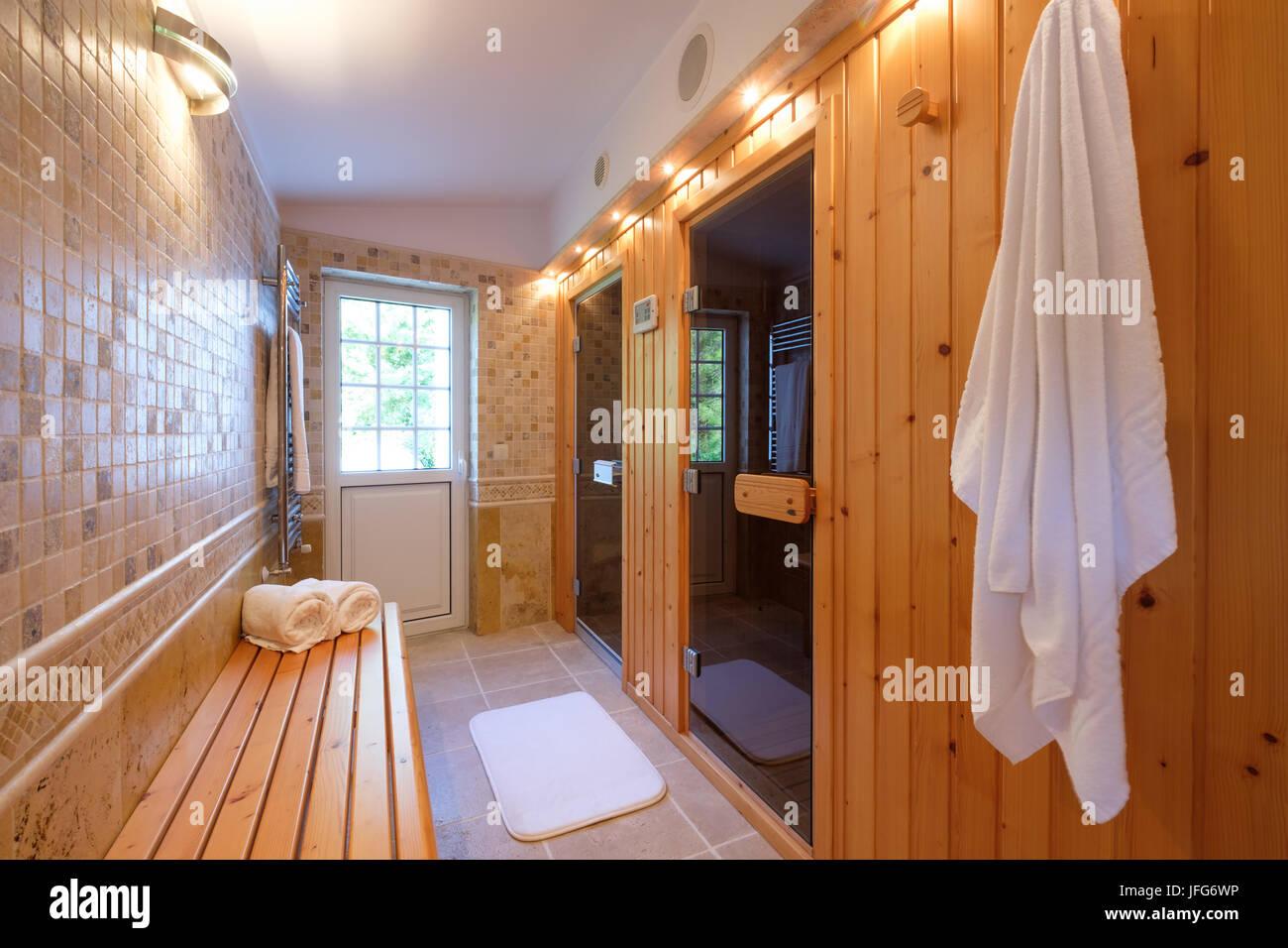Home sauna and turkish bath - Stock Image