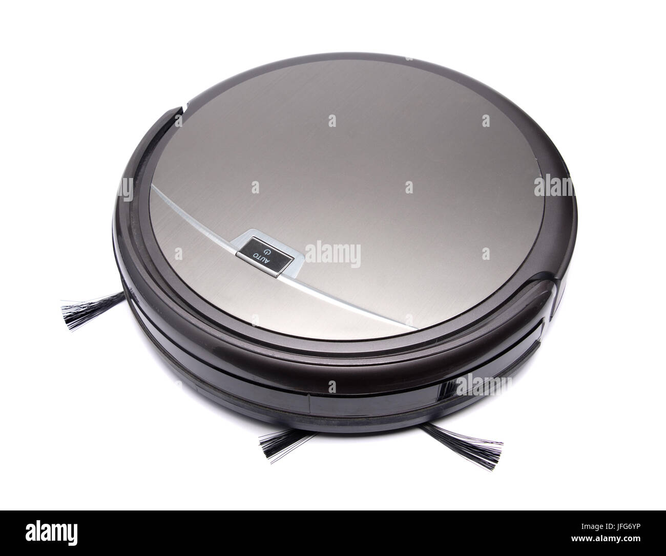 Robot vacuum cleaner cut out isolated on white background - Stock Image