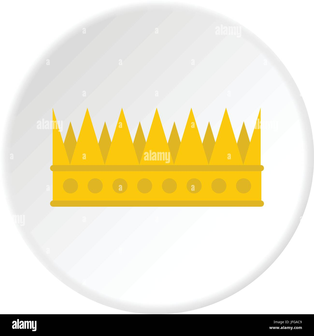 Regal crown icon circle - Stock Image