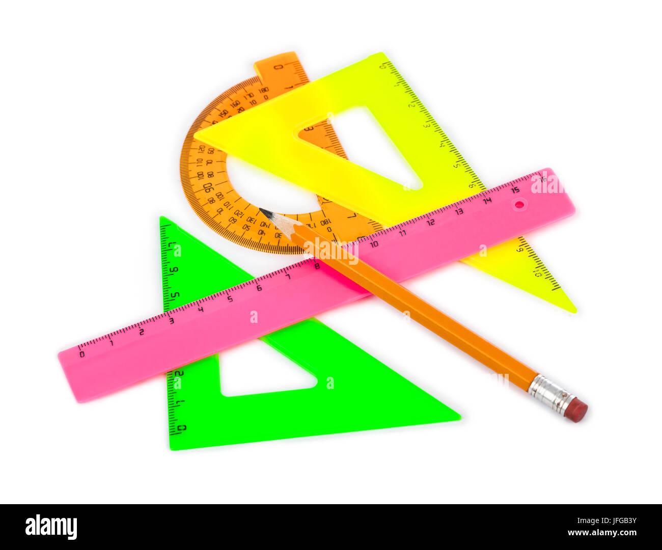 Multicolored rulers and pencil - Stock Image