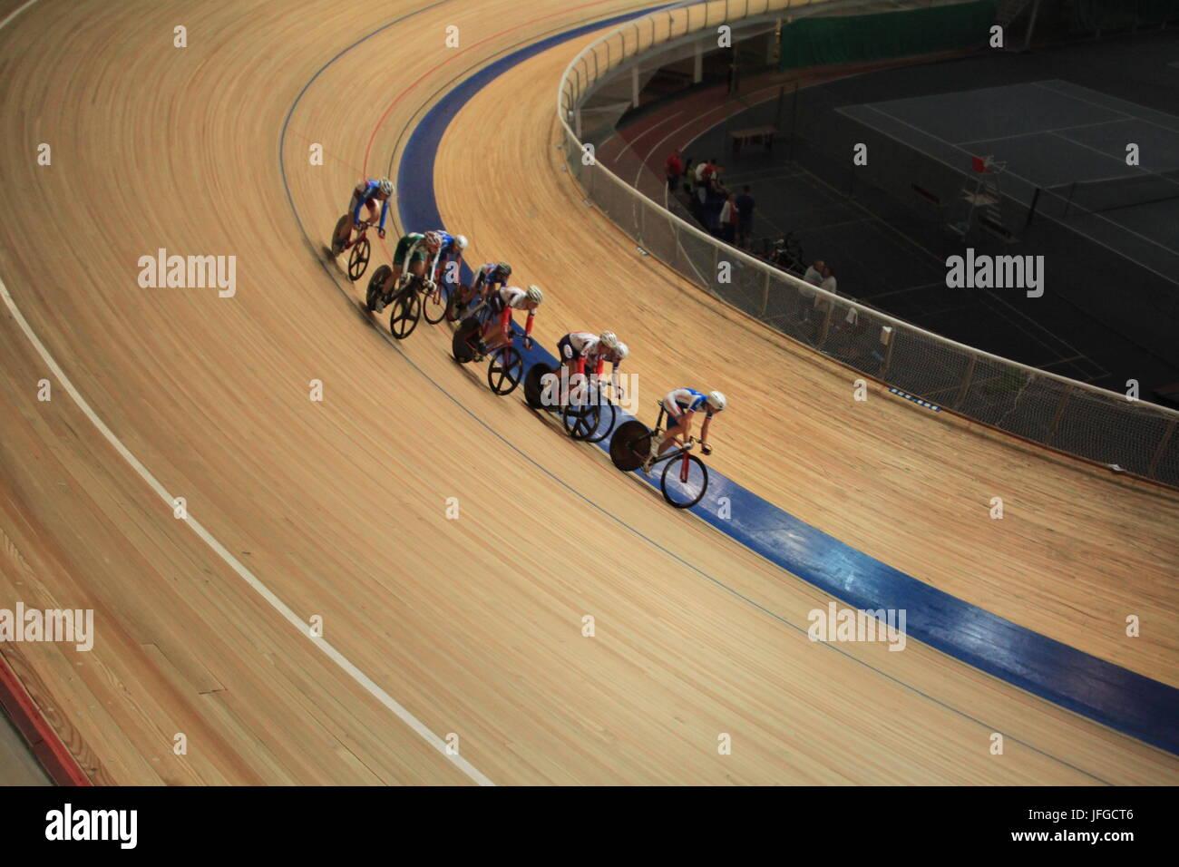 bicycle race pursuit - Stock Image