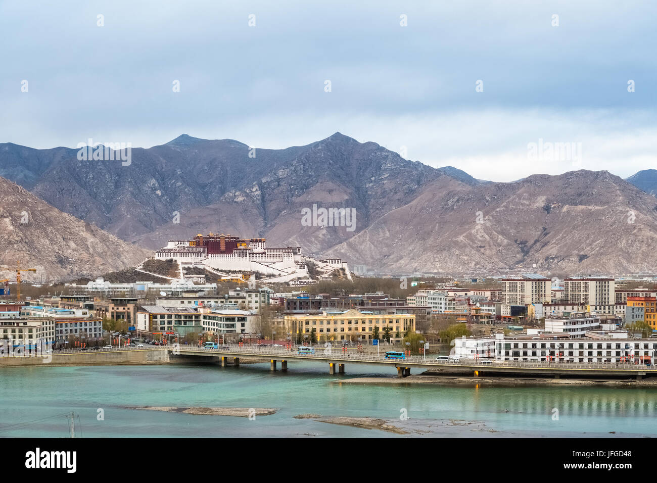 overlook of the lhasa city at dusk - Stock Image