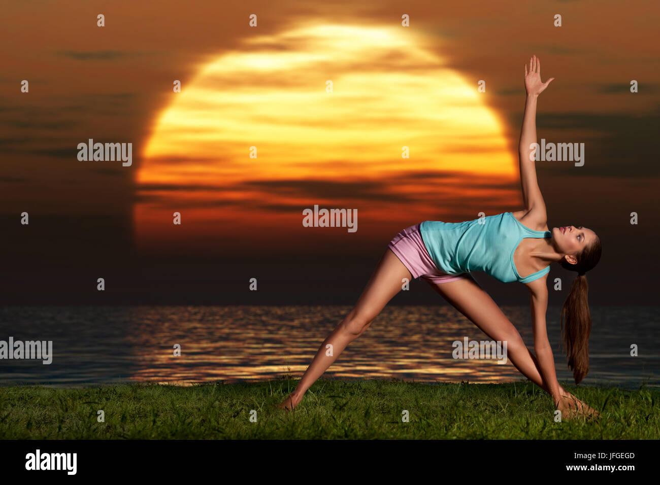 Yogi sunrise. - Stock Image